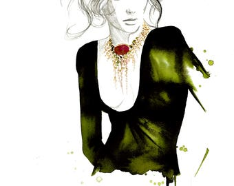 Gwen, Original watercolor and mixed media fashion illustration by Jessica Durrant