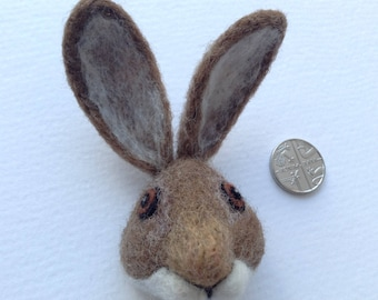 Felted Brown Hare Brooch