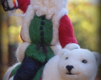 Needle Felted Polar Bear and Santa Claus Wool Father Christmas And Animal Soft Sculpture