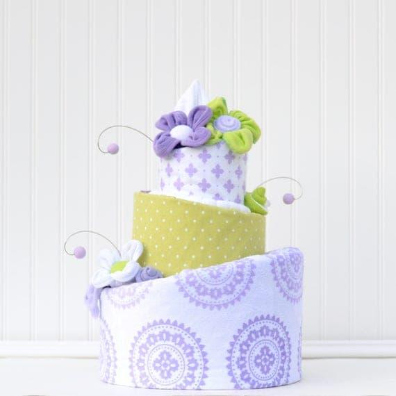 Diaper Cake, Purple Baby Shower Decor, Elegant Diaper Cake, Chic Diaper Cake, Purple Medallion Blanket, Girl Baby Shower Centerpiece