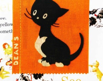 Vintage Cloth Book, deans rag book, vintage rag book, new old stock, cloth book, rag book, kitty cat, vintage childs book, 1950s childs book