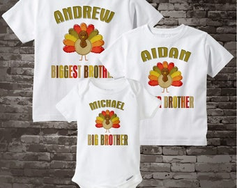 Coordinating Sibling Set Matching Sibling Shirts Thanksgiving Turkey SET of 3 - Matching Sibling Outfits - Turkey Sibling Shirts 10292012j