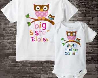 Big Sister Shirt, and Little Brother Owl Onesie or Shirt Set Personalized Owl Tee Shirt or Onesie Set of Two 03222012f