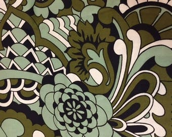 1968 Style of Pucci//Cotton Knit Abstract//White/Olive/Mint Green and Black In Shapes of Flowers, Ribbons and Leaves