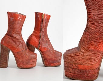 1960s 1970s vintage reptile skin platform boots * orange red * from Japan * small size SH063