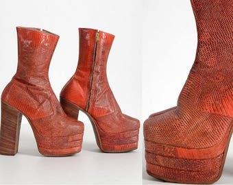 1960s 1970s vintage snakeskin platform boots * orange red * from Japan * small size SH063