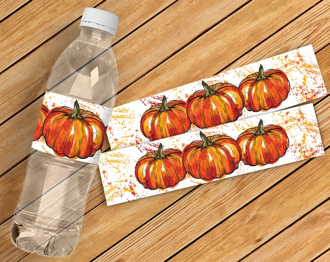 Pumpkin Carving Party Water Bottle Wrappers - Halloween Party, Halloween Favor | Instant Download DIY Printable PDF