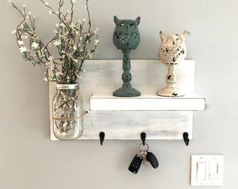 entryway shelf, key holder, wall vase, shelf with hooks, kitchen shelf, farmhouse, rustic shelf, reclaimed wood, mason jar wall vase, white