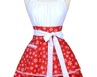 Womens Flirty Christmas Apron in Winter Holiday Red Snowflakes Pinup Hostess Apron with Pocket - Monogram Option (DP)