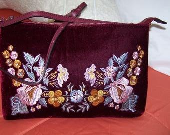 hand made velveteen hand bag