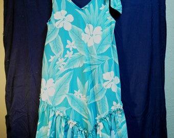 Vintage Hawaiian Dress Shoulder Tie Teal T & L Muumuu Factory Small Tropical Floral Seafoam Green