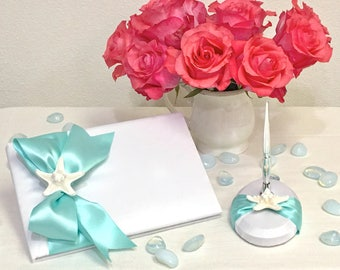 Beach Wedding Guest Book and Pen with Starfish - 24 Ribbon Colors available - coastal wedding