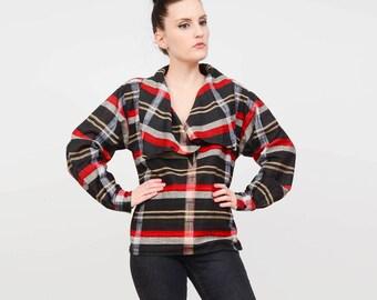 Vintage 80s Plaid Shirt | Button Down Draped COWL Neck | Cotton Blouse | Long Sleeve Checkered Top | Black Red | Medium M