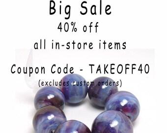 Purple Lampwork beads, Royal Purple, violet lampwork beads, lavender lampwork beads, purple glass beads, fuchsia, blue, 7 lampwork beads