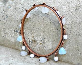 Big Copper Armband Bangle Bracelet Moonstone Crystal Milk Glass