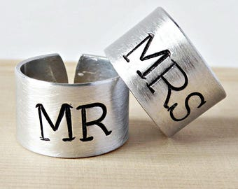 Couples Ring Set, adjustable, his and hers ring set, personalized, funny gift, Wedding Band Set, wide band, mr and mrs, anniversary jewelry