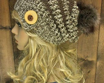 Crochet Slouchy Hat Faux Fur Pom Pom / MERAKI / Featured in the colour Woods