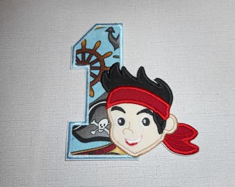 Free Shipping Ready to Ship Number 1 Pirate Machine Embroidery iron on applique