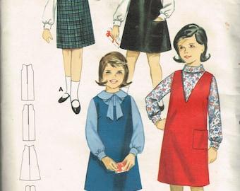 60s Girls Jumper Pattern Butterick 3235 GIrls Knee Length Shift Jumper A-Line Jumper Size 6 Vintage 1960s Sewing Pattern