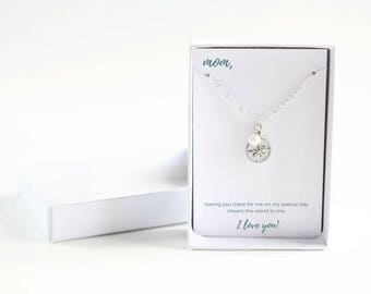 Mother of Bride Personalized Necklace - Silver Compass Necklace - From Bride to Mom - Mother of Bride Silver Necklace - Birthstone Necklace