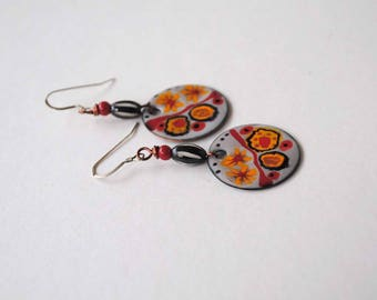 Matisse Inspired Earrings, Enamel Earrings, Abstract Earrings, Unique Artisan Earrings, Red Yellow Earrings, Funky Modern Earrings,