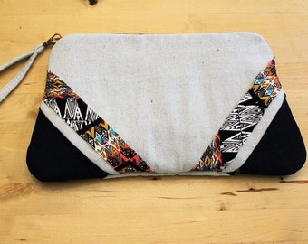 Large Zipper Clutch with Removable Wrist Strap. Natural and Black