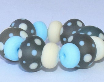 """Handmade Lampwork Beads, 14 Pieces """"Matte Transparent Stone Gray, Ivory and Sky Blue"""", Size about 8.1 to 11.9 mm"""