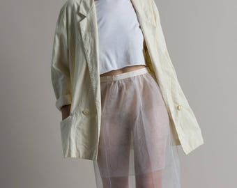 Vintage 90s Cream Linen Oversized Blazer / White Jacket