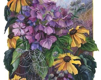 Fine Art Print of Original Watercolor Painting - Spiderwebs