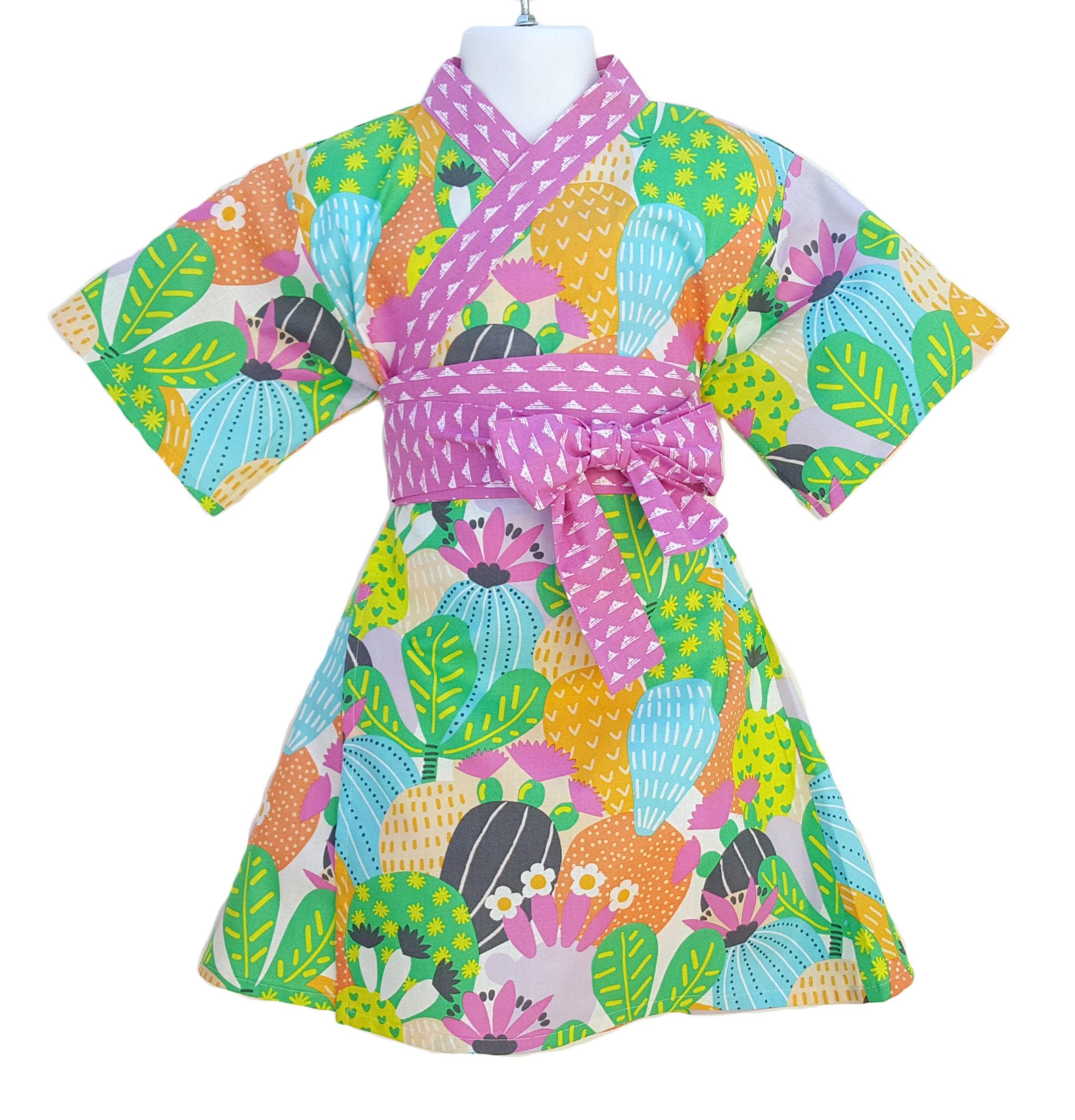 Kimono Dress CACTUS BLOOM Yukata Modern Kimono Girls Baby