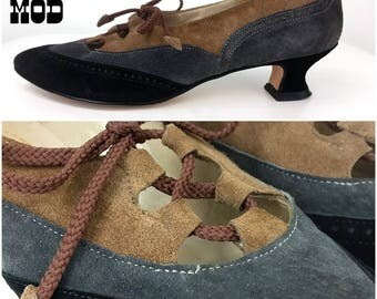 Vintage 50s 60s Brown, Gray, Black Suede Spectator Oxford Shoes Heels