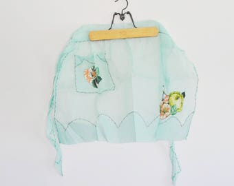 1950's See-through Apron, Flower Floral Appliqué Organza Teal Apron, Flirty Apron, 1950's Kitchen Kitsch Accessories