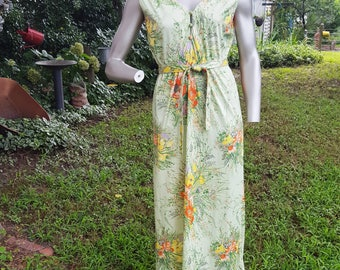70s Maxi Dress and Vintage Jacket Set by Lesile Fay, Vintage Sundress and Jacket Size 10
