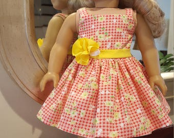 18 inch Doll Dress, Fits American Girl, Orange & Yellow Sun Dress