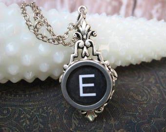 Typewriter Key Jewelry - Typewriter Necklace - Letter E - Typewriter Charm - Vintage Key