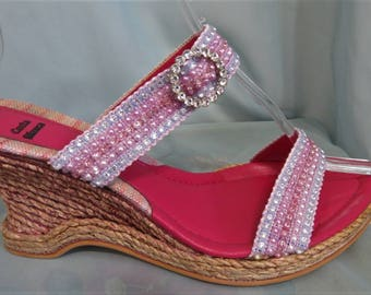 Costa Blanca Leather, fabric, rhinestones and jute high heeled sandals size 10 B