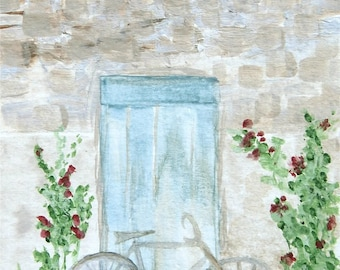 """Bicycle Art, Cottage Farmhouse Art, French Art, Blue Door Art, Country Cottage- Giclee Print of Fine Art Watercolor Painting- """"Bicycle"""""""
