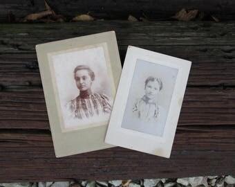 Vintage Black and White Photographs Women on Mat Board Paper Ephemera