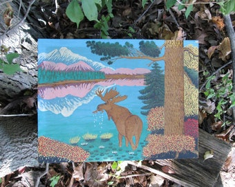 Wood Pyrograph Moose Lake Vintage 1951 Signed Painting Mid Century Art 1950s Kitsch