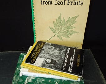 Vintage  Reference Guides Books on Trees - Literary Gift  Book Stack - Trees and Shrubs - Instant Library for Arborist Tree Lover