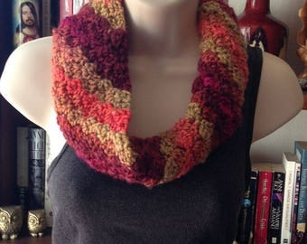 Orange Pink and Red Infinity Scarf