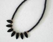 Black Beaded Necklaces, Black Necklace, Beaded Necklaces, Black Choker, Bead Necklace, Statement Necklace, Black Bead Necklace, Jewelry,N821