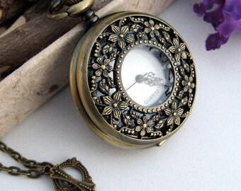SALE - Bronze Cherry Blossom Watch Necklace - 1 3/4 inch Watch Case - Victorian Steampunk Era