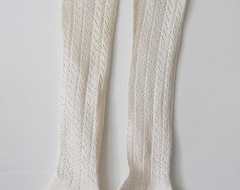 Vintage Women's Knit Cotton Stockings • Ladies Hand Knit Long Cotton Socks