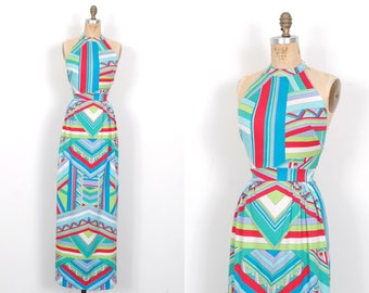 Vintage 1970s Dress / 70s Graphic Printed Backless Maxi Dress / Blue ( XS S )