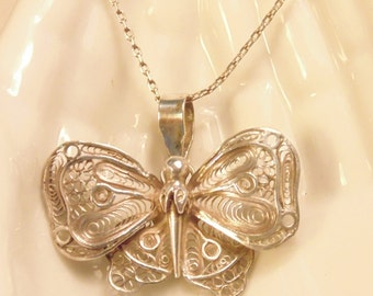 Vintage Chinese Sterling Filigree Butterfly Necklace Sterling Butterfly Sterling Pendant Chinese Export Silver Necklace Silver Butterfly