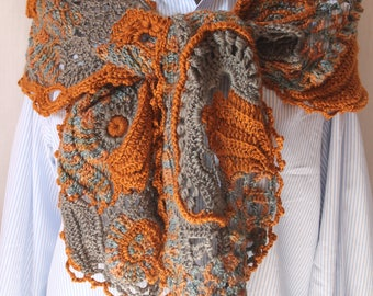 Chic, Boho Hippie Freeform Crochet Scarf Shawl, Lace Crochet Scarf, Multicolor  knit scarf, Flower crochet scarf