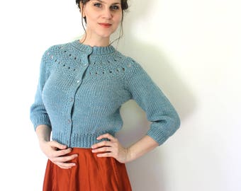 Reserved 1950s 1930s Style Cardigan / 50s Cardigan / 50s 1930s Light Blue Cropped Knit Crochet Cardigan