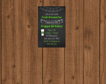 Frappe Birthday Invitation, Frappy Birthday Inivitation, Fresh Brewed Fun Invitation, Teenager Birthday Invitation