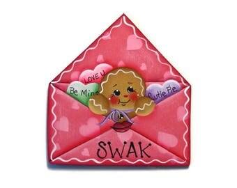 Ginger in Envelope Ornament or Fridge Magnet, Handpainted Wood Gingerbread Refrigerator Magnet, Hand Painted Ginger, Valentine's Day